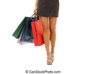 sacolas, shopping mulher, sobre, cima fim, branca