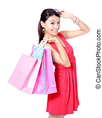 sacolas, shopping mulher, tomar, feliz