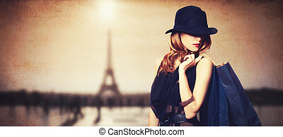 sacolas, shopping, parisian, experiência., ruivo, mulheres