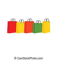 sacolas, shopping, set., isolado, ilustração, vetorial, white.