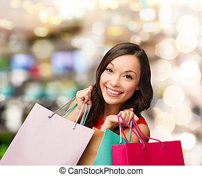 sacolas, vestido, shopping mulher, vermelho