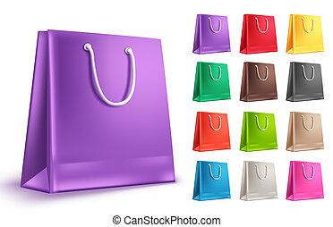 sacolas, vetorial, shopping, coloridos, roxo, set., saco, papel, vazio