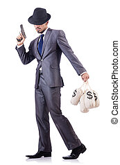 sacos, dinero,  criminal, hombre de negocios