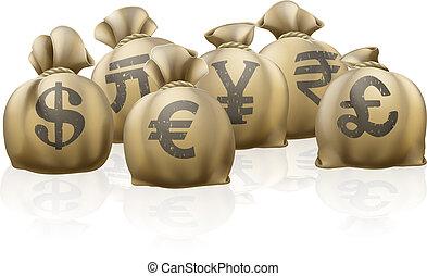 sacos, moeda corrente, câmbio exterior
