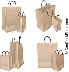 sacos papel, arte, jogo, shopping