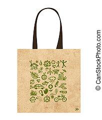sacos papel, com, verde, ecológico, ícones, desenho