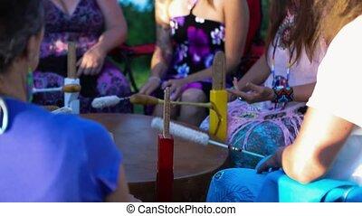 sacré, chant, tambours, spirituel, group.