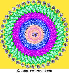 sacré, dessin, géométrique, mandala, coloré, cercle