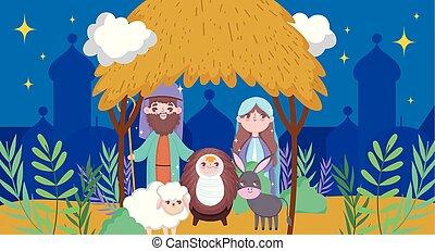 sacré, famille, joyeux, mangeoire, nativité, noël heureux