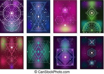 sacré, géométrie, bannières, collection, coloré