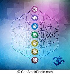 sacré, géométrie, chakra, icônes, vie, fleur