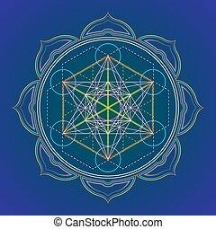 sacré, géométrie, mandala, couleur, illustration