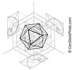 sacré, géométrie, résumé, icosahedron., vecteur, fond, construction, géométrique