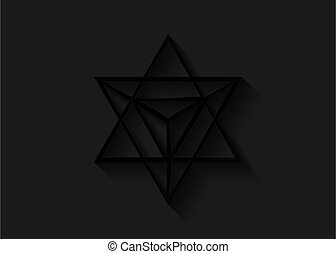 sacré, ligne, 3d, triangle noir, icon., wicca, ésotérique, ou, géométrique, esprit, lumière, spirituel, tétraèdre, symbole., corps, merkaba, ombre, geometry., divination, mince, isolé, forme., arrière-plan., étoile