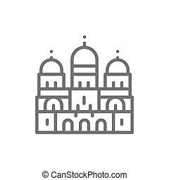 sacré, ligne, basilique, repère, coeur, icon., paris, france