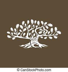sacré, silhouette, brun, isolé, logo, énorme, arbre chêne, ...