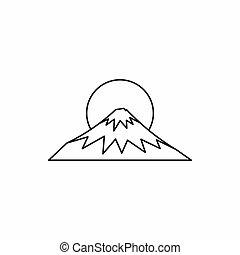 sacré, style, icône, contour, fuji, symbole, japon