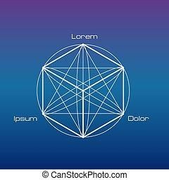 sacré, symboles, elements., géométrie