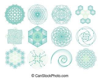 sacré, symboles, géométrie, éléments, set.