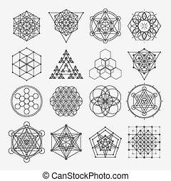 sacré, symboles, géométrie, vecteur, conception, spiritualité, hipster, alchimie, religion, elements., philosophie