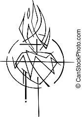sacré, vecteur, coeur, christ, illustration, jésus