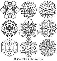 sacré, vecteur, -, symboles, géométrie, ensemble, 04