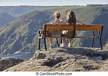 sacra, route., sil, punto de vista, ribeira, galicia, canyon., río, encima