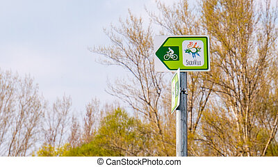 Sacra velo sign - Cycling path in Hungary and Slovakia.