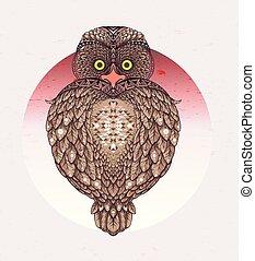 sacral Owl - vector illustration. Icon design