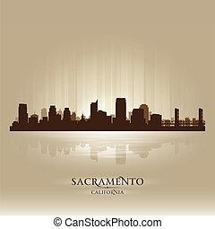 sacramento , γραμμή ορίζοντα απεικονίζω σε σιλουέτα , πόλη ,...