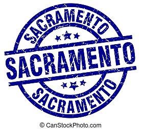 Sacramento blue round grunge stamp