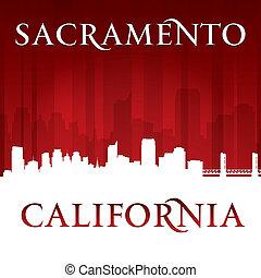 Sacramento California city skyline silhouette red background