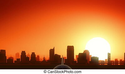 Sacramento California USA America Skyline Sunrise Take Off
