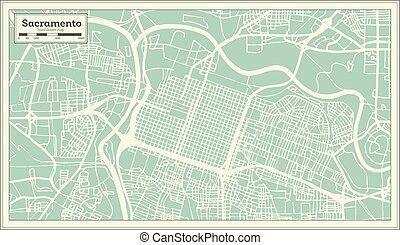 Sacramento California USA City Map in Retro Style. Outline Map.