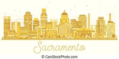 Sacramento California USA City Skyline Golden Silhouette.