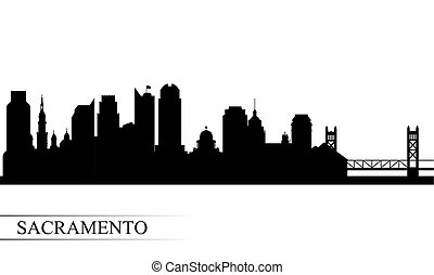 Sacramento city skyline silhouette background