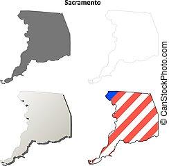 Sacramento County, California outline map set
