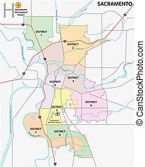 Sacramento district administrative and political map