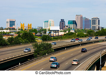 Sacramento downtown with freeway in the foreground