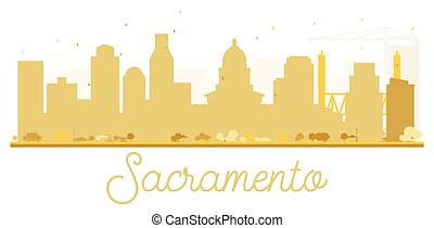 sacramento, horizon, doré, ville, silhouette.