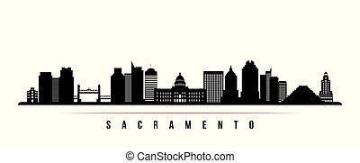 sacramento, horizon, ville, horizontal, banner.