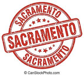 Sacramento red grunge round vintage rubber stamp
