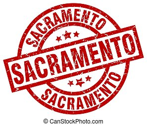 Sacramento red round grunge stamp