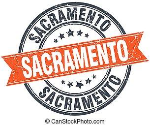 Sacramento red round grunge vintage ribbon stamp