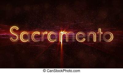 Sacramento - Shiny looping city name text animation -...