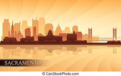 sacramento, silhouette horizon, fond, ville