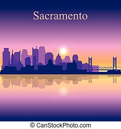 Sacramento silhouette on sunset background