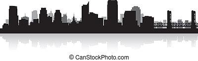 sacramento, siluetta skyline, città