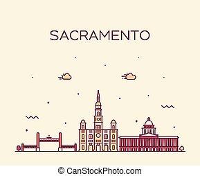 Sacramento skyline California USA vector line city