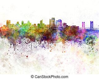 Sacramento skyline in watercolor background
